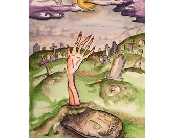 Graveyard Shift Watercolor