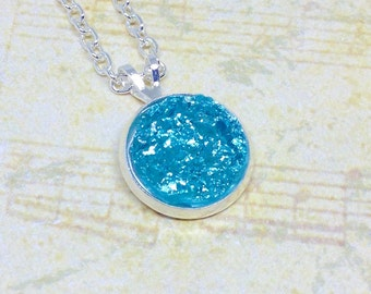 Aqua Blue Druzy Necklace, Blue Necklace, Faux Druzy Necklace, Simple Necklace, Minimal Jewellery, Gift For Her, Glitter Jewelry