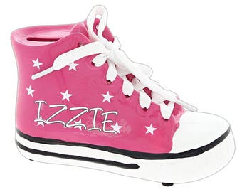 "Personalized 5"" x 3"" Kids Retro Pink Shoe Bank"