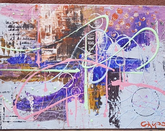 Party in the City, avant-garde modern art canvas in acrylic painting full and lovely chic fashion