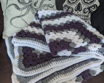 Crocheted Purple, White and Grey Striped Granny Square Blanket/Afghan