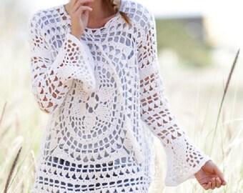 Summer top Lace crochet tunic crochet top long sleeves top boho tunic crochet sweater beach top black sweater pink sweater Drops Lilith