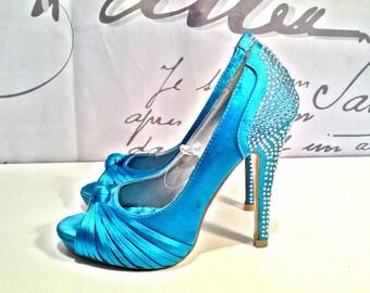 Crystal Heels Women's Shoes Bright Blue Open Toe Rich Size 6us/3uk/36eu