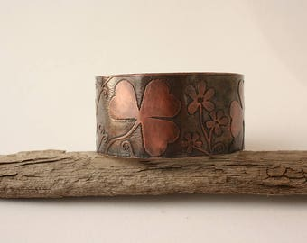 Copper Cuff bracelet, etched Shamrock copper cuff, Copper jewelry inspired by nature, handdrown flowers and leaves etching on copper