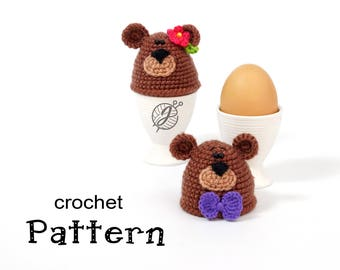Bear egg warmer Crochet PATTERN Egg cozy DIY tutorial Crochet egg holder tutorial DIY teddy bear egg cozy Egg cosy pattern Kitchen decor