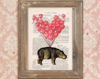 hippopotamus print, hippo with balloons,Hippo poster, Hippo illustration, hippopotamus art, anniversary print, heart balloons, love print