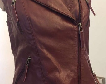 Leather vest jacket
