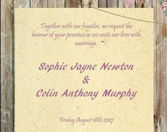 Vintage Rustic Wedding Invitation printable PDF