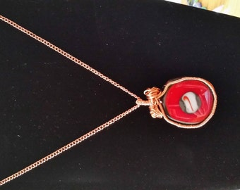 Hand Crafted Wire Wrapped Pendent with Glass Cabochons