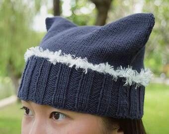 Hand-Knitted Blue Fancy Cat Ears Beanie