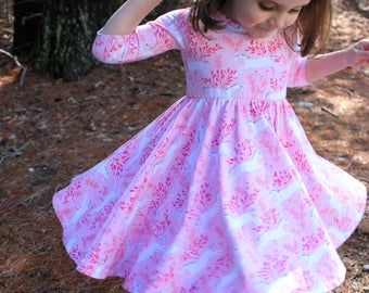 Circle Skirt Dress in Pink with white Unicorns