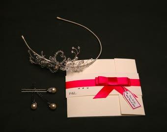Serenity Invitation, off Set Tri-fold,Personalised Invitation,Handmade Invitation
