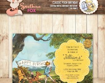 Classic Winnie the Pooh Birthday Invitation - Custom Digital Invitation 4x6- Pooh Party, Classic Pooh Invite, Classic Pooh, Winnie the Pooh