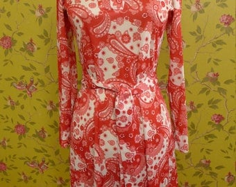 Vintage Orange Paisley California Girl Shirtdress