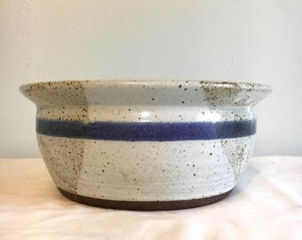 Handcrafted speckled stoneware - white and blue striped serving bowl