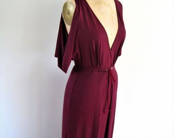 BELLE Raspberry Jersey Maxi Dress with Cold Shoulder