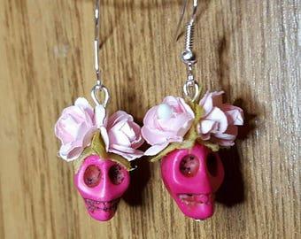 Pink  Skull earrings