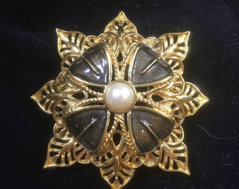 1970's Signed Monet Statement Brooch, Gold tone, Enamel Openwork and a faux pearl accent, Beautiful piece in excellent condition