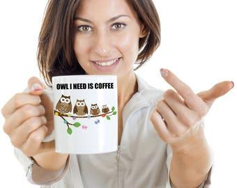 Owl Coffee Mug - Owl I Need Is Coffee - Owl Coffee Cup - Cute Coffee Mugs - Ceramics Cups