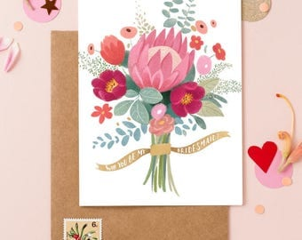 Will You Be My Bridesmaid Card - Wedding Bouquet Flowers 1