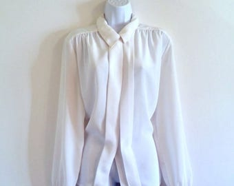 Vintage White Secretary Collar Blouse - Size L / One Size, Pointed 70s 1970s, Pintuck Pleated Front, Pleats Tuxedo Top Shirt, Sheer Silky
