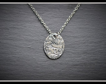 Engraved Oval Pendant - Silver Precious Metal Clay (PMC), Handmade, Necklace - (Product Code: ACM027-17)