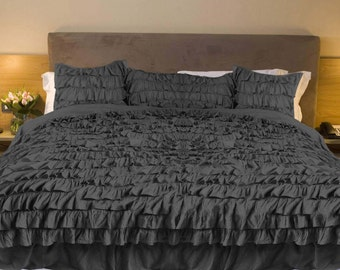 Egyptian Cotton Elephant Grey Ruffle Duvet Cover 1000 Thread Count