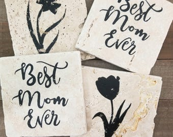 BEST MOM EVER Coasters | Natural Stone CoasterS (4) | Wine Coaster, Drink Coaster, Stone Coasters Mother, Family, Flowers, Tulips, Daffodils