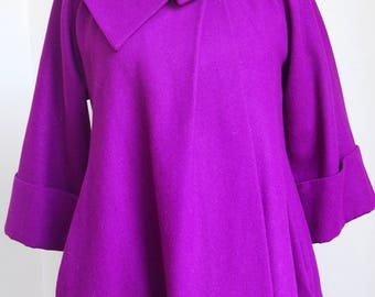 Vintage Purple Short Cape Coat