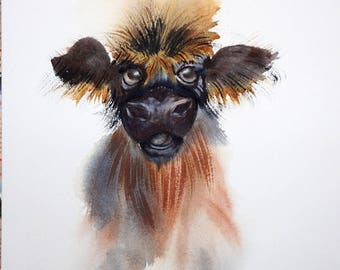 Animal Original Watercolor art, Original Animal art painting, cow Painting, animals painting, calf watercolor illustration, nursery decor