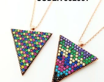 Triangle necklace , rainbow colours
