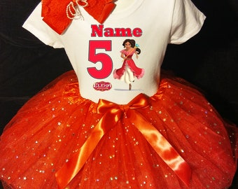 Elena of Avalor 5th fifth 5 Birthday ***With NAME*** Tutu Dress  Fast Shipping Red party Shirt & Tutu outfit