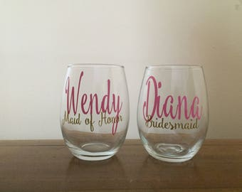 Set of 10 or 11 Bridesmaid Glasses | Personalized Bridesmaid Glasses | Wedding Gift | Set of 11 bridesmaid wine Glasses