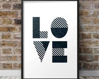 Art for the home - 'Typographic Love' decor, keepsake gift (frame not included) A4