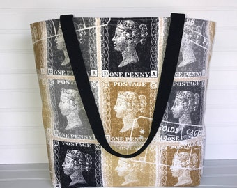 Handmade Everyday Tote | Market Bag |  Queen Victoria Stamp Tote