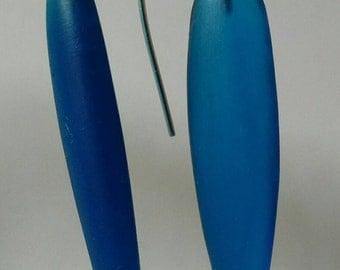 Resin and Silver Long drop earrings - Cobalt, red, aqua