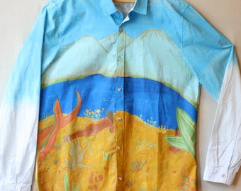 Hand painted aloha style shirt