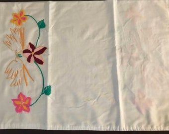 hand stitched pillowcase- birds and flowers
