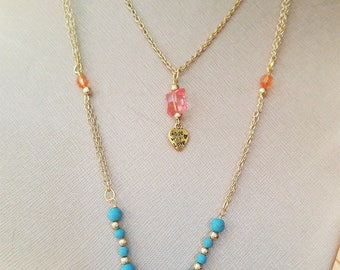 Turquoise & Pink with Golden Necklace