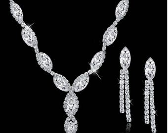 Rhinestone, Crystal, CZ necklace set, wedding bridal jewelry set