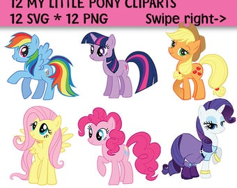 12 My Little Pony Clip Art, My Little Pony SVG, My Little Pony PNG, 300 PPI, My Little Pony Decoration, Instant Download