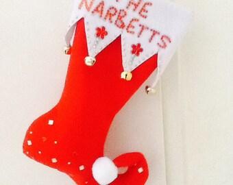 Handmade elf christmas stockings