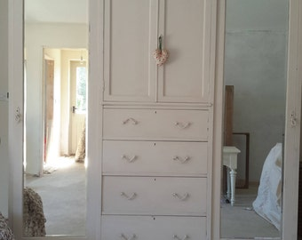 Beautiful  Painted compact 19th C Mahogany Triple wardrobe