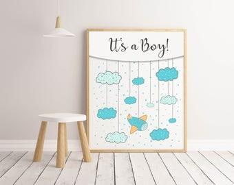 Its A Boy Nursery Print, Plane Print, Boy Room Print, Boy Room Poster, Nursery Wall Poster, Nursery decor, Wall Art Print, Printable Nursery