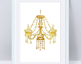 Faux Gold Foil Chandelier Art Print