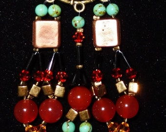 turquoise stone necklace, Carnelian and Swarovsky crystals. Suede cord.