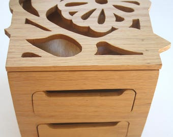 Handmade solid wood jewelry box - Flower design or Choose your own custom design -  scroll saw art