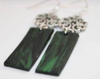 Polymer clay earrings,Green earrings, Black earrings, Marbled clay design, Dangle earrings, Flower earrings, Gifts for her, charm and dangle
