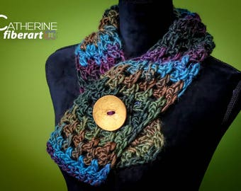 Crochet Cowl Scarf with Button in Dark Jeweltone Purple, Green, Turquoise Blue and Brown