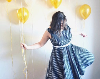 Betty Dress. Retro style dress. Pin up dress. Polka dot dress. Spotty dress. Low back dress. Spot dress. Vintage style dress. Party dress.